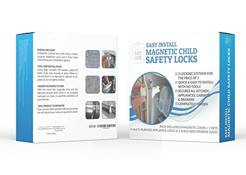 Easy Install Magnetic Baby Safety Locks; 8 Locks, 2 Keys - BONUS Pack Also Includes 4 Appliance Safety Locks and 4 Drawer Locks - No Drills or Screws