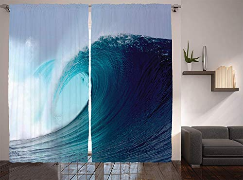 Lohebhuic Ocean Decor Collection Tropical Surfing Wave on a Windy Sea Indonesia Sumatra Picture Print Window Treatments,83.5
