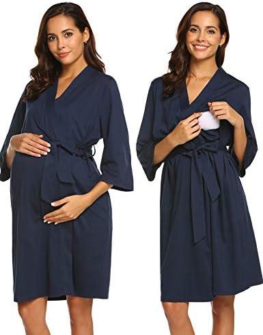 Ekouaer Maternity Robe, Labor Delivery Hospital Gown Nursing Nightgowns Bathrobe