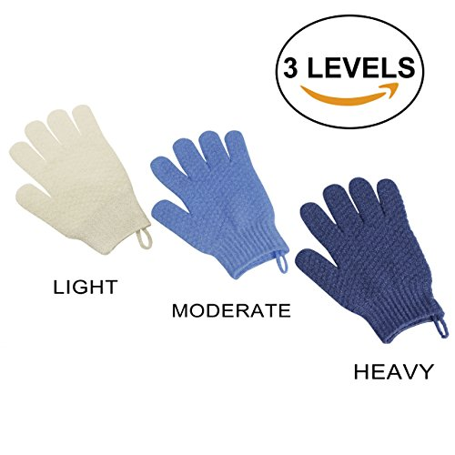 3 Distinct Levels, 3 Pack EvridWear Exfoliating Dual Texture Bath Gloves for Shower, Spa, Massage and Body Scrubs, Dead Skin Cell Remover, Gloves with hanging loop, 3 Colors 3 Exfoliating levels (Massage Scrub)