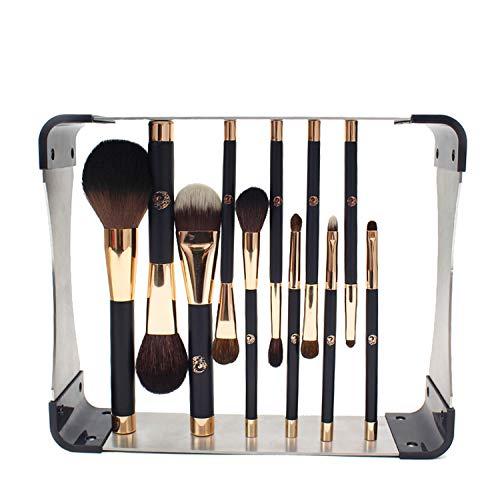 ENERGY Professional Makeup Brushes Set with Magnet Drying Rack 11pcs k Premium Powder Blusher Eyeshadow Concealer Blending Brush Kit(Blue,Metal Magnet Organizer)