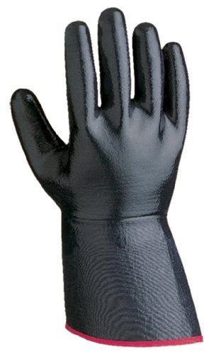 Jersey Grip Extra Gloves (SHOWA 7199NC Fully-Coated Nitrile Glove, Smooth Grip, Cotton Jersey Liner, Reinforced Gauntlet Cuff, General Purpose Work, 5 Gauntlet, Large (Pack of 12 Pairs) by Showa Best Glove)