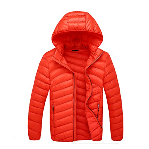 filled Jacket Hooded Zhhlaixing Pure Men's Warm Removable Bello Orange Color Zipper Xxgx7z