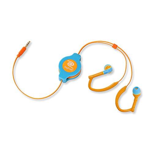 ReTrak ETAUDWBUOR Retractable Ear Buds for iOS and Android Devices, Neon Blue/Orange Sports