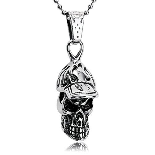 46bd7e2e4461 Beydodo Collar Colgante de Hombre Acero Inoxidable Plata Negro Calavera  Colgante Collar Para Hombre