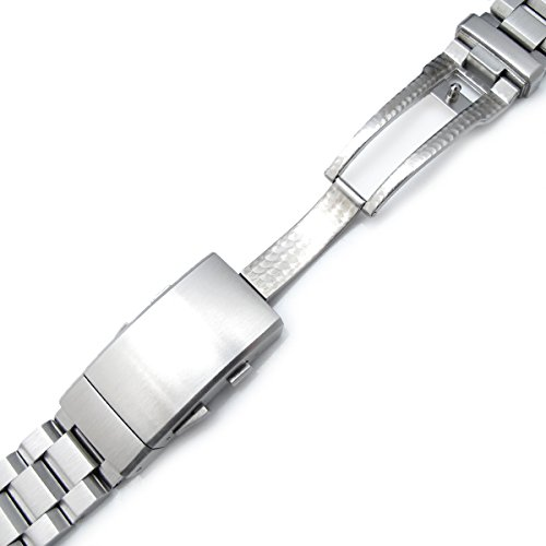 22mm Hexad Oyster 316L Stainless Steel Watch Band for Seiko SKX007, Wetsuit Ratchet Buckle by Seiko Replacement by MiLTAT (Image #5)