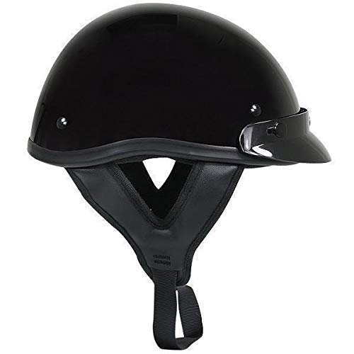 Outlaw T70 DOT Solid Glossy Black Half Helmet - Small