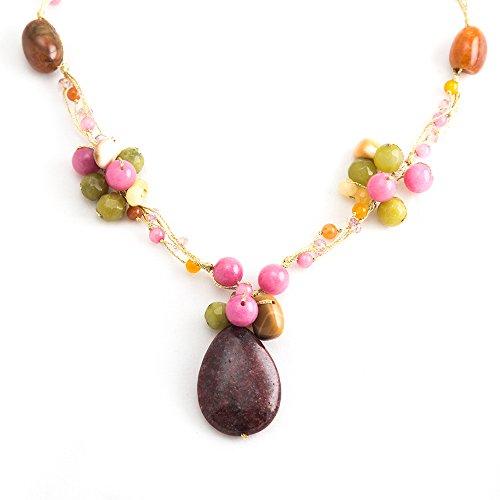 (Handmade Multi-Colored Gemstones Beads Silk Thread Cluster Women Necklace 17