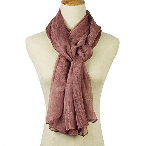 Unique Shade Color Elegant Long Polyester/Silk Scarf Thin Chiffon Shawl Scarf Lightweight 7537
