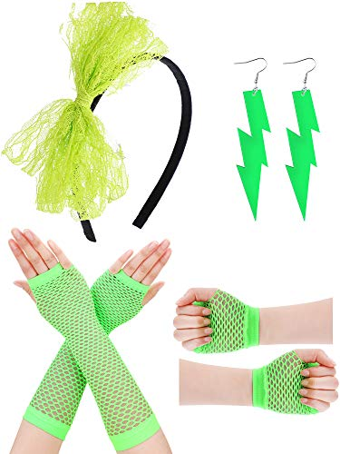 Boao Women 80s Costume Accessories Lace Headband Fishnet Gloves Neon Earrings for 80s Themed Party St. Patrick's Day (Color Set 3 (Earrings, Gloves, Headband)) -