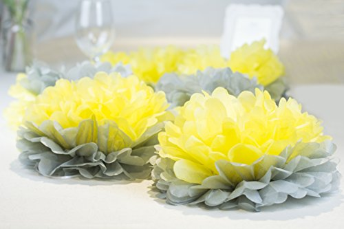 paper jazz Dual Color Pompom Flower Lantern Paper Pinwheel Fan Party Decoration kit for Wedding Birthday Bridal Shower Baby Shower Home Store Decoration (Yellow Gray)