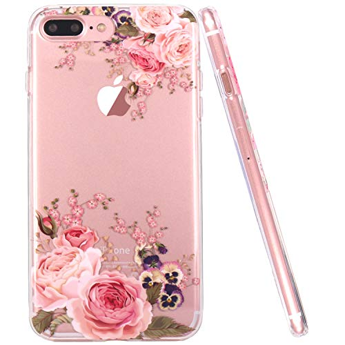 JAHOLAN iPhone 7 Plus Case, iPhone 8 Plus Case Girl Floral Clear TPU Soft Slim Flexible Silicone Cover Phone Case for iPhone 7 Plus iPhone 8 Plus - Rose Flower ()