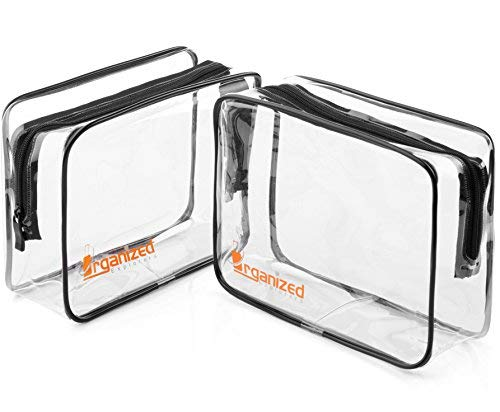 TSA Approved Toiletry Bag - Travel Bag for Women and Men to Secure Your Toiletries In Your Carry On Luggage and Pass Through Security with Ease - 2 Pack - Clear Toiletry Bags
