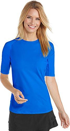 Shirt Baja Womens - Coolibar UPF 50+ Women's Short Sleeve Hightide Swim Shirt - Sun Protective (Large- Baja Blue)