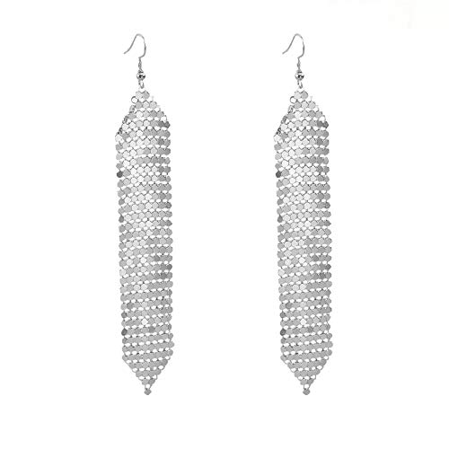 i&D Jewelry Women Earrings Metal Mesh Grid Sequins Tassel Long Drop Dangle Earrings BAR Earrings Silver Plated (Silver Tassel Long Earrings)