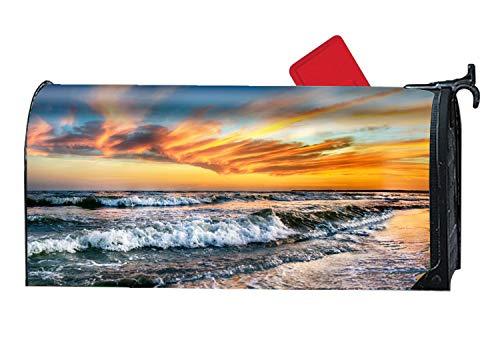 Decorative Magnetic Mailbox Cover Earth Beach Ocean Sea Sunset Horizon Mailbox Wrap