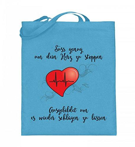 Shirtee IH6J2R7T_XT003_38cm_42cm_5747 - Bolso de tela de algodón para mujer Helles Grün 38cm-42cm Azul Claro