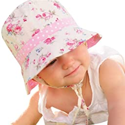 Millymook Girls Reversible Cotton Sun Hat Vintage Bucket -Pink (Infant 0-12 Months), UPF50+