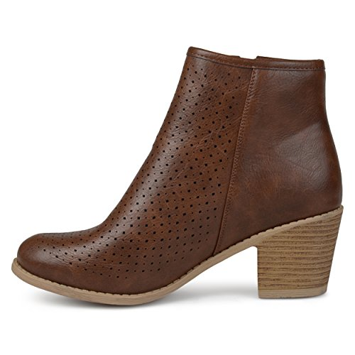 Brinley Co. Womens Malak Faux Leather Faux Wood Comfort-Sole Stacked Heel Laser-Cut Booties Brown, 7.5 Regular US by Brinley Co (Image #2)