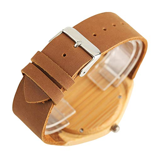 Amazon.com: Men Creative Carving Life Tree Dial Wood Simple Bamboo Wooden Watch Male Handcrafted Genuine Leather Reloj De Madera: Beauty
