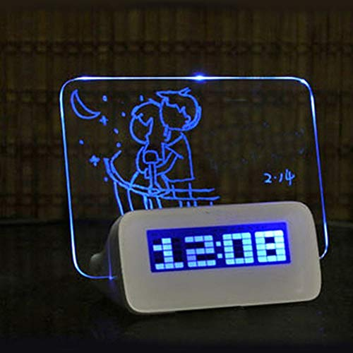 LVOERTUIG Digital Message Board Clock,LED Bedside Alarm Clock Travel Clock Alarm,LCD Display Digital Desktop Office Desk Clocks Bedroom Bedside Alarm Clock Timer (Blue Light (C ()
