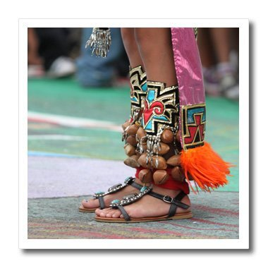 3dRose ht_161309_1 Decorated feet of an American Indian Native-Female, Woman, Dancer, Foot, Clothing, Festival-Iron On Heat Transfer, 8 by 8