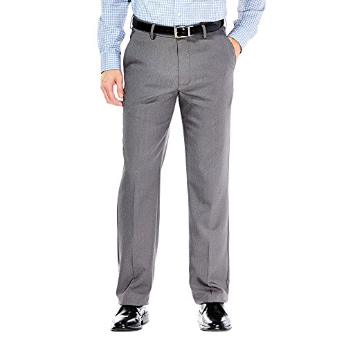 Haggar Mens Performance Microfiber Flat Front Heather Slack, Graphite, 32-34