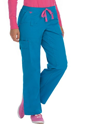 Med Couture Women's Rescue 8761 Utility Cargo Scrub Pant- Harbor Blue/Azalea- X-Large from Med Couture