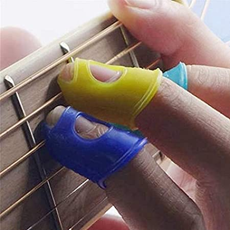 Navy Blue M 4Pcs Silicone Left Hand Fingertip Protector Finger Guards for Ukulele Acoustic General Musical Instrument Accessories XKSIKjians Guitar Accessorie