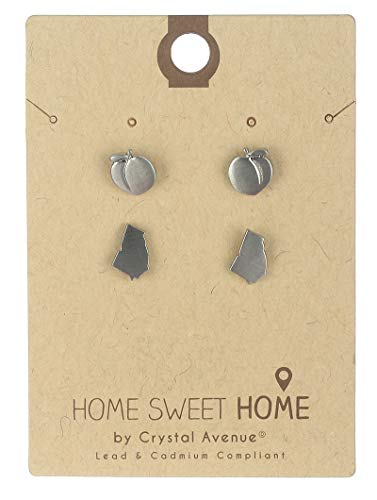 - Silver 2 pair stud state of georgia earring Fashion Jewelry FancyCharm