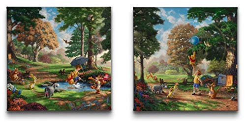 Thomas Kinkade Studios Winnie The Pooh Set of 2 14 x 14 Gallery Wrapped Lithograph on - Lithograph Thomas Kinkade
