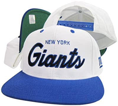 New York Giants White/Blue Script Two Tone Adjustable Snapback Hat / Cap