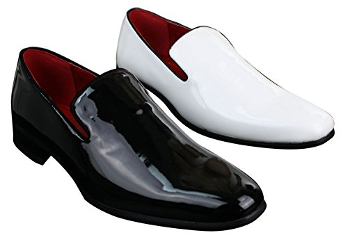 On Shiny Patent Shoes Loafers Driving Slip Smart Mens White Casual White Black Leather q51WnxHE