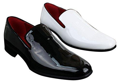 En Verni décontractée Et Chaussure Pour Mocassin Couleur Confortable Blanc Chic Noir Homme Zf4agW