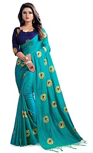 (Hiral Designer Indian Women Turquoise Color Cotton Paper Silk & Heavy embroidery Work Party Wear Saree With Blouse piece Indian. (Rama))