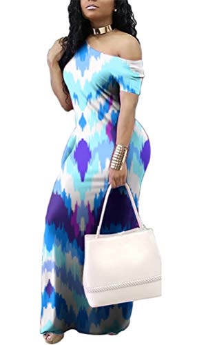 Dresses Print Sleeve Blue Gludear Dresses Casual Maxi Dye Women's Short Striped Tie Long 77r6xPvEqw
