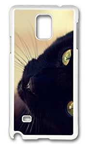 Adorable black cat face Hard Case Protective Shell Cell Phone HTC One M7 - PC White