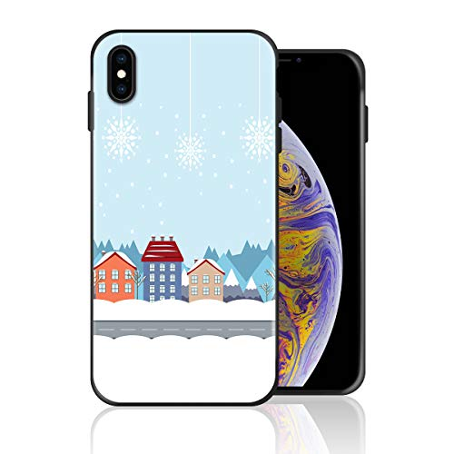 Silicone Case for iPhone 6s Plus and iPhone 6 Plus, Snowy Town and Road Design Printed Phone Case Full Body Protection Shockproof Anti-Scratch Drop Protection Cover