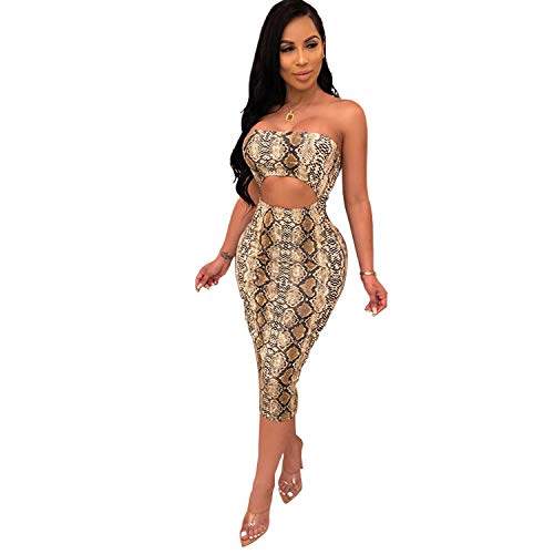 PORRCEY A Strapless Dress with a Sexy Serpentine Pattern (Large, Brown)