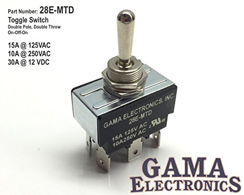(GAMA Electronics 30 Amp Toggle Switch DPDT 3 Position On-Off-On)