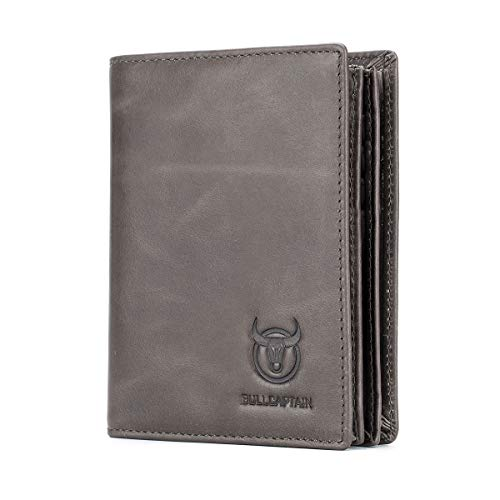 Bullcaptain Large Capacity Genuine Leather Bifold Wallet/Credit Card Holder for Men with 15 Card Slots QB-027 (Grey) ()