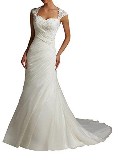DAPENE® Women's Lace Mermaid Cap Sleeve Bridal Wedding Dress Ivory US 16