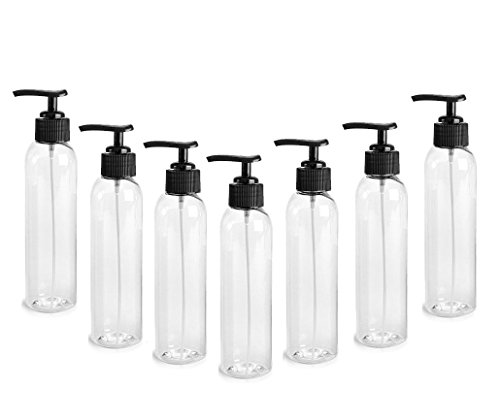 Clear PET Cosmo Plastic Bottle (PBA Free) 4 Oz w/Black Lotion Pump Dispenser (6 Bottle Pack) by Grand Parfums