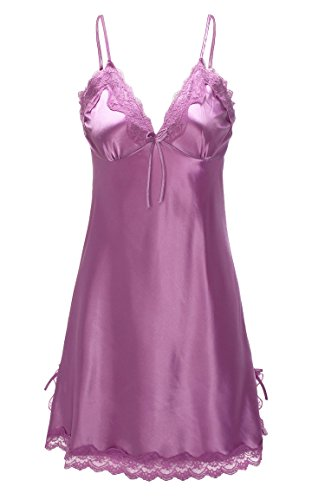 ReliBeauty Womens Lace Trim Satin Chemise Nightgown (4-6, Lavender) Lavender Chemise