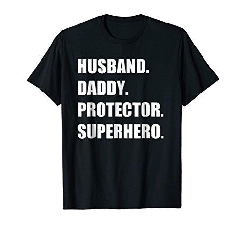 Mens Husband Daddy Protector Superhero - Funny & Cool Father Tee ()