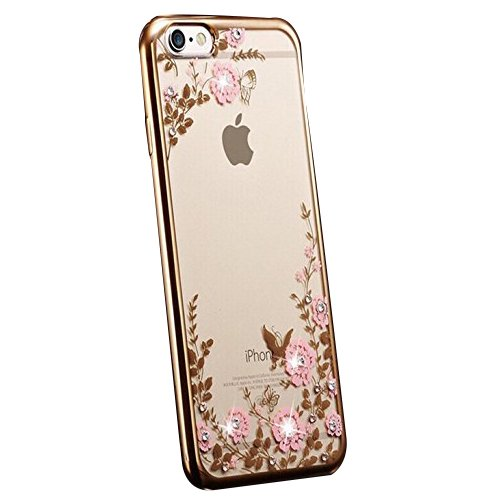 iPhone 6 Case, FYee [Secret Floral Series] Slim Dual Flexible TPU Rubber Back Cover with Clear Flower Bling Glitter Stone Diamond Case for iPhone 6 / 6s 4.7 inch - Golden Edge