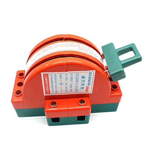 Sydien 2 Pole Double Throw DPDT Safety Disconnect Knife Switch Copper Power Disconnector Switch 63A 380V