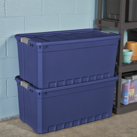 Plastic Stacker - Sterilite 50 Gal./189 L Stacker Tote, Stadium Blue - 3 Pack