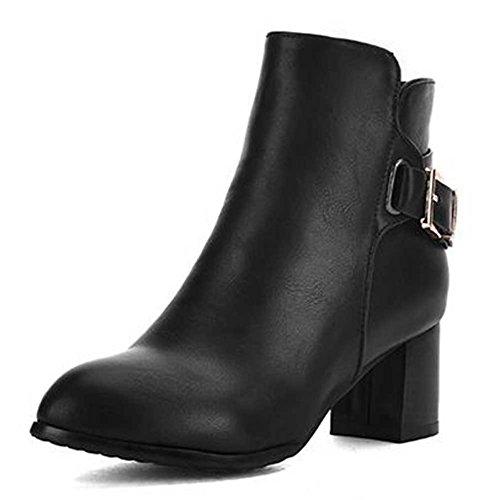 Chfso Mujeres Trendy Solid Round Toe Con Hebilla Cremallera High Chunky Heel Gladiador Tobillo Negro