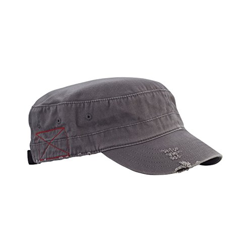 Mega Cap Cotton Distressed Washed Cadet Cap (Grey)
